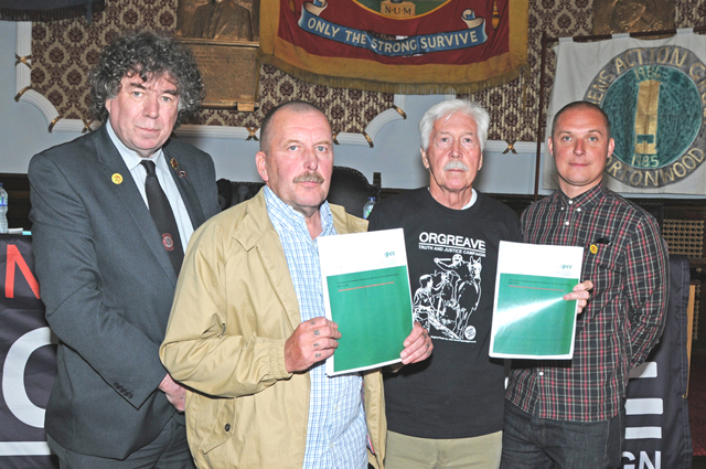 Chris Skidmore, Arthur Critchelow, Granville Williams and Joe Rollin with the IPCC report at yesterday's press conference.