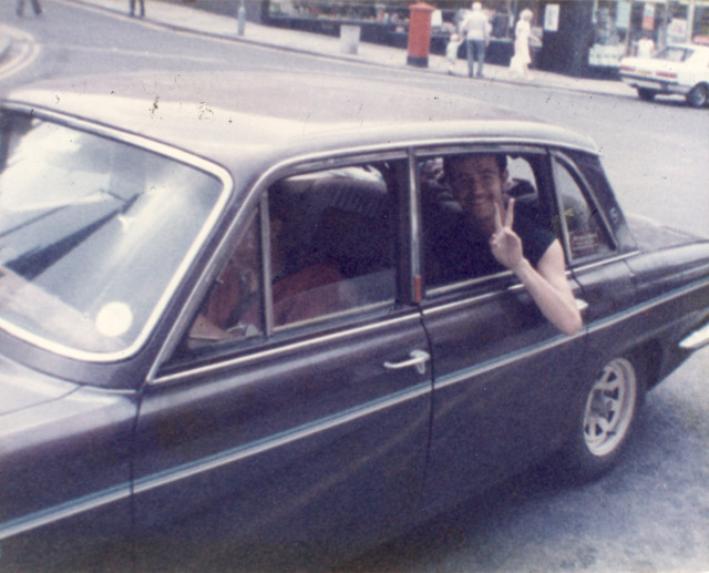 The 'battlebus' on Picket duty somewhere in Nottinghamshire May1984. Daz Goulty giving the Victory sign.