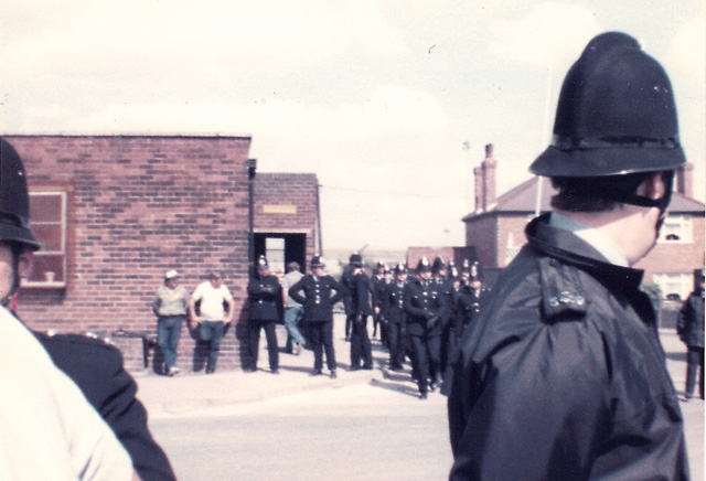 The week we stopped in Notts. The pit above is possibly Bilsthorpe or Calverton Colliery. Notts. Striking Nottinghamshire miners, middle left, and police reinforcements coming out.