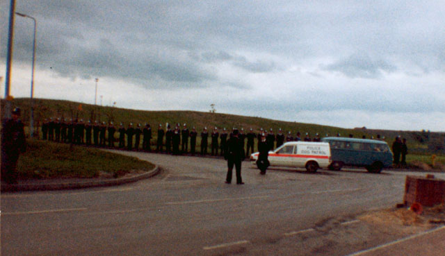 Police guard another entrance to Harworth Colliery. Nottinghamshire.