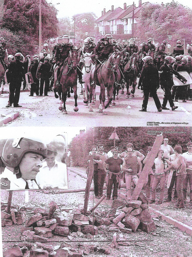 Scenes of police and striking miners at Handsworth (the top end of Orgreave) on June 18th. The images depict 'Cavalry Stoppers' and wooden stakes positioned in the ground as defensive measures by pickets, to deter continued cavalry charges against them by police. Inset; Tony Clements, the enemy commander who spoke to me, at the end of the day. Photos courtesy of Rotherham Advertiser.