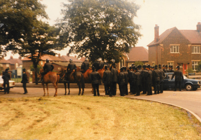Harworth Colliery Nottinghamshire. Police and Cavalry block the road to stop pickets reaching the colliery entrance.