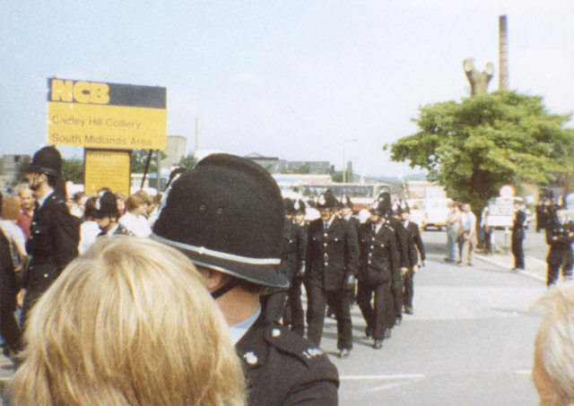Cadley Hill Colliery, 15th June. Police are coming out of the woodwork. There's hundreds of them and they're appearing from nowhere!