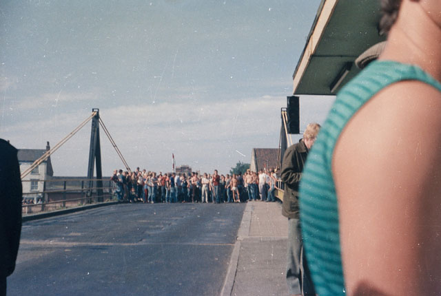 Yorkshire Striking Miners hold Selby toll bridge. 6th July 1984.