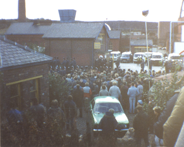 Silverwood Colliery entrance. Miners' out in force to picket their own pit as two scabs go in to work.