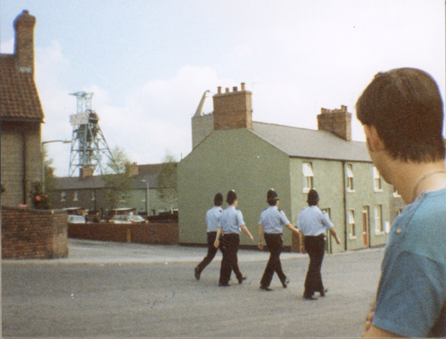 Newstead Colliery, Nottinghamshire. Darren Goulty observes police patrolling the Colliery surroundings.