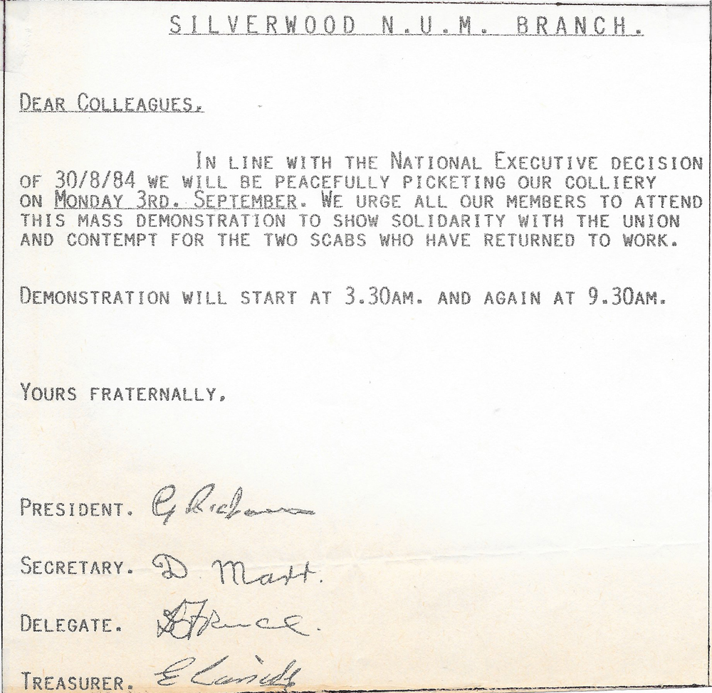 Original 'Strike orders' placed on a table in the Baggin'. The next day's picketing orders.