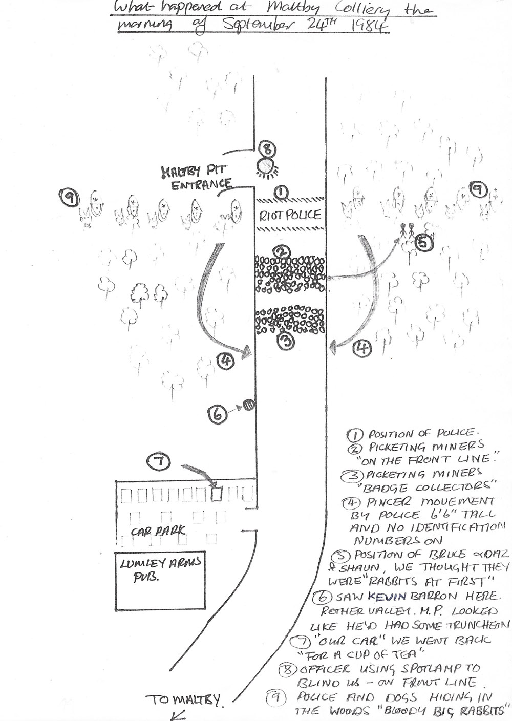 A Drawing by Bruce Wilson to explain events on the morning of Monday 24th September 1984 at Maltby Colliery.