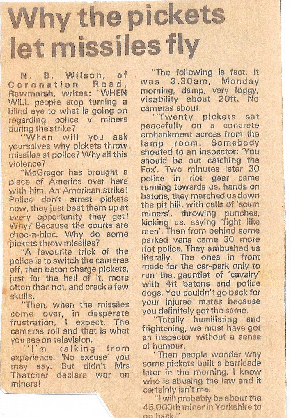 Letter sent to Rotherham Advertiser by Bruce Wilson.