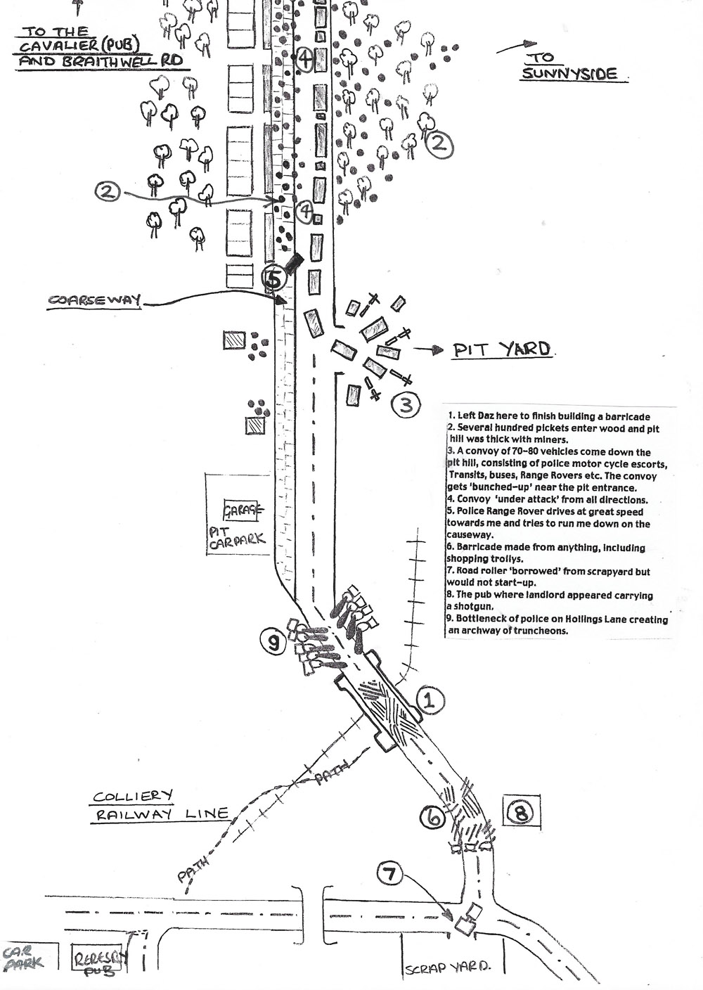 Silverwood Colliery. September 28th 1984. Diagram drawn by Bruce Wilson explaining the events of that morning.