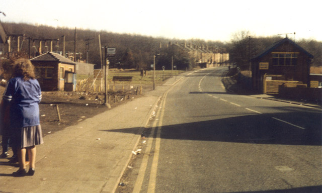 Peaceful scene at Silverwood Colliery. NUM offices [left]. Pit entrance [right] scabs came down the hill with a police convoy.