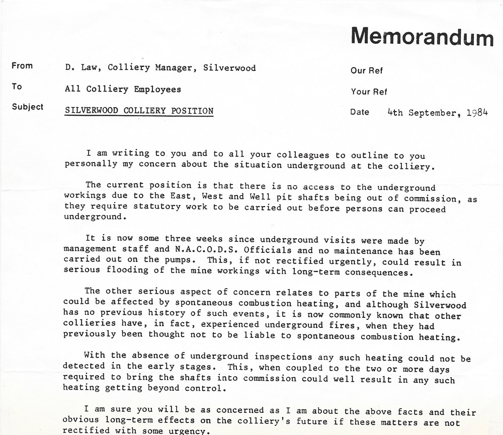 Letter sent to all Silverwood striking miners' from the colliery manager.