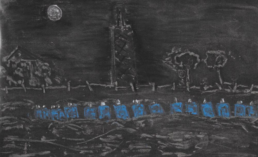 "September 12th Brookhouse colliery. Sheffield. It was like ""We'd gone over the top"" In front of us; in the darkness a long line of riot police stood up. Drawing by Bruce Wilson."