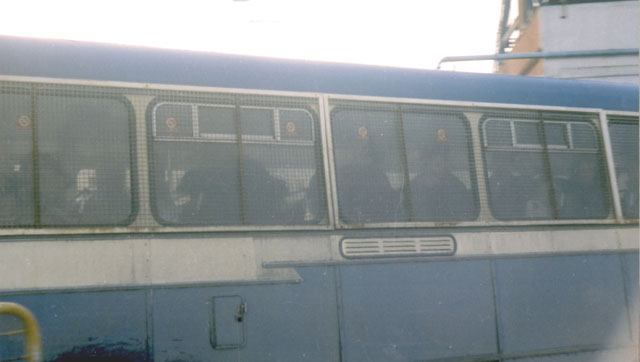 Silverwood Colliery. A bus carrying scabs leave's the pit yard.