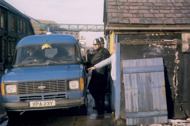 The tea hut opposite Silverwood Colliery. Scabs would cross the road behind the van making their way into the pithead baths. Paul Willis was arrested here.