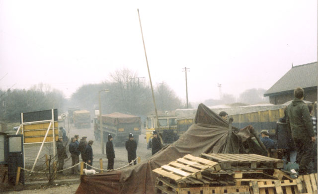 Coal stocks being moved at Silverwood by convoys of lorries.