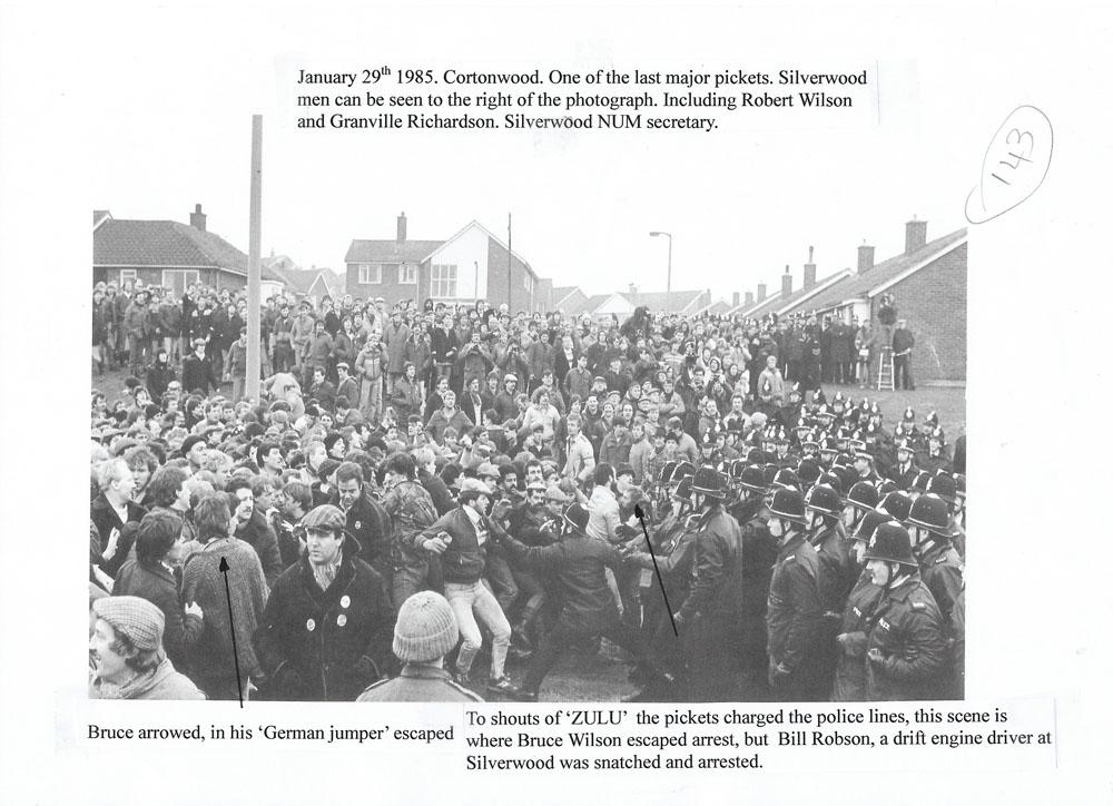 Tuesday, 29th January 1985. Cortonwood picket line. By John Sturrock.