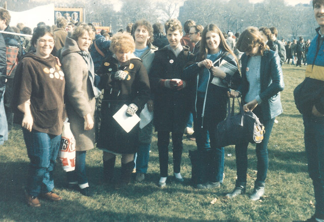 Silverwood Miners wives. February 1985. Hyde Park, London.