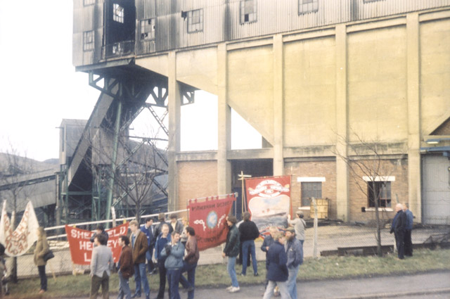 Trade Union supporters with their banners at the end of the Silverwood Colliery 'March back to work'.