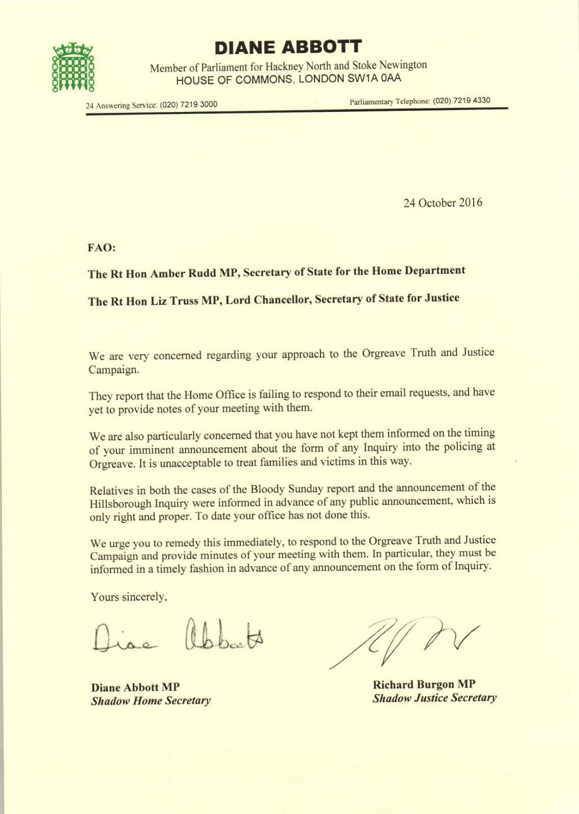 shadow cabinet letter to amber rudd orgreave truth and justice