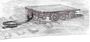 Tramming underground. A 'skelly'. A flat topped mine car. A miner would load it up with supplies, throw the rope over his shoulder and pull.